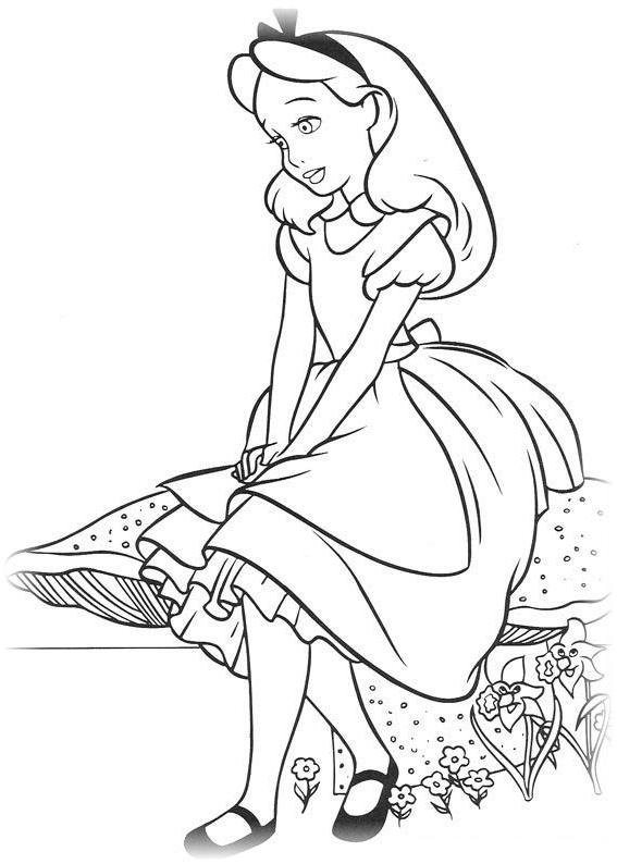 Ausmalbilder für Kinder Alice im Wunderland 11