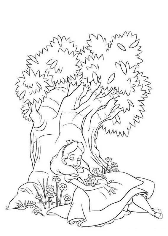 Ausmalbilder für Kinder Alice im Wunderland 7