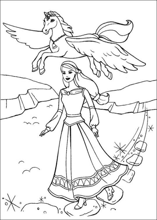 Ausmalbilder für Kinder Barbie und der geheimnisvolle Pegasus 16