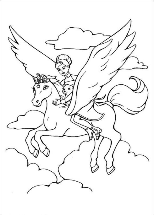 Ausmalbilder für Kinder Barbie und der geheimnisvolle Pegasus 8