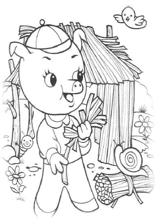 ausmalbilder für kinder die drei kleinen schweinchen 2