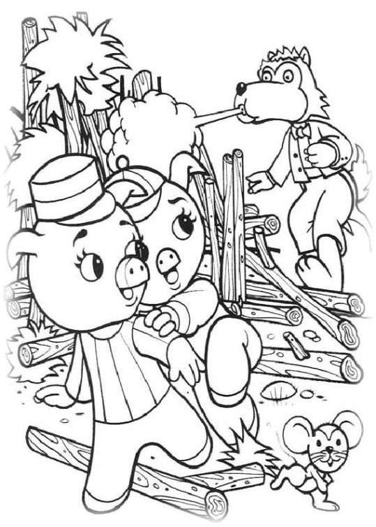 ausmalbilder für kinder die drei kleinen schweinchen 7
