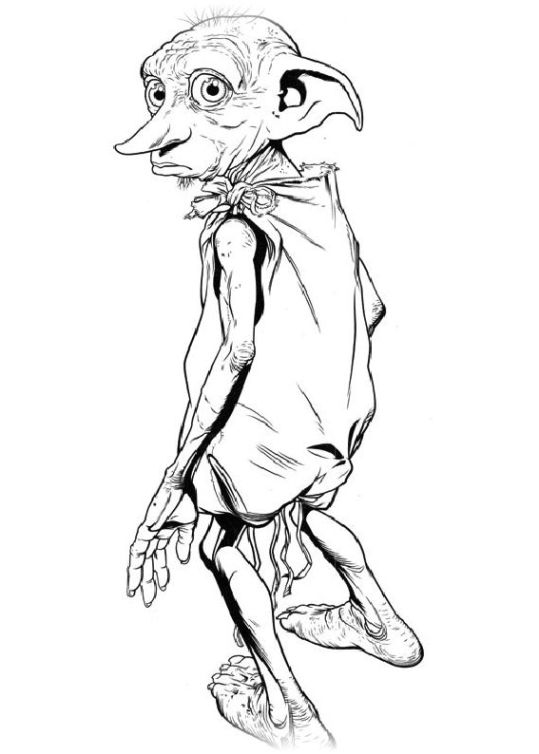 Harry Potter Coloring Pages Dobby Fabric