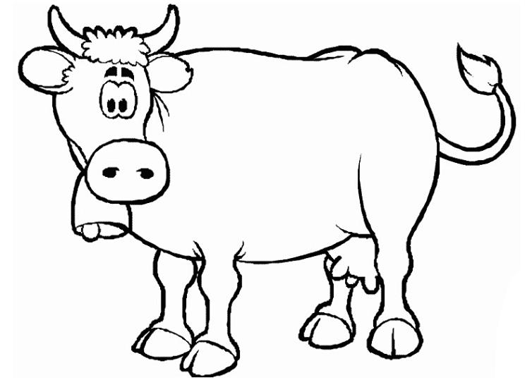Ausmalbilder für Kinder Kuh 6