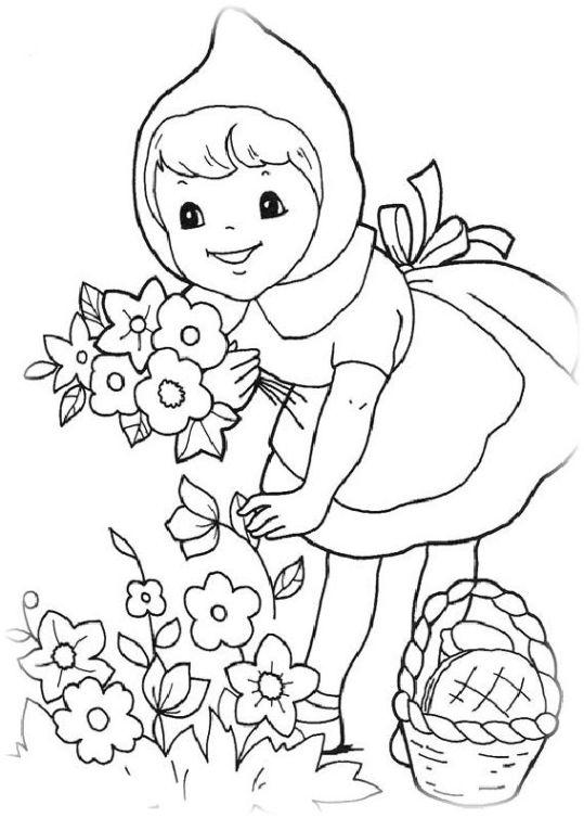 ausmalbilder für kinder rotkappchen 3