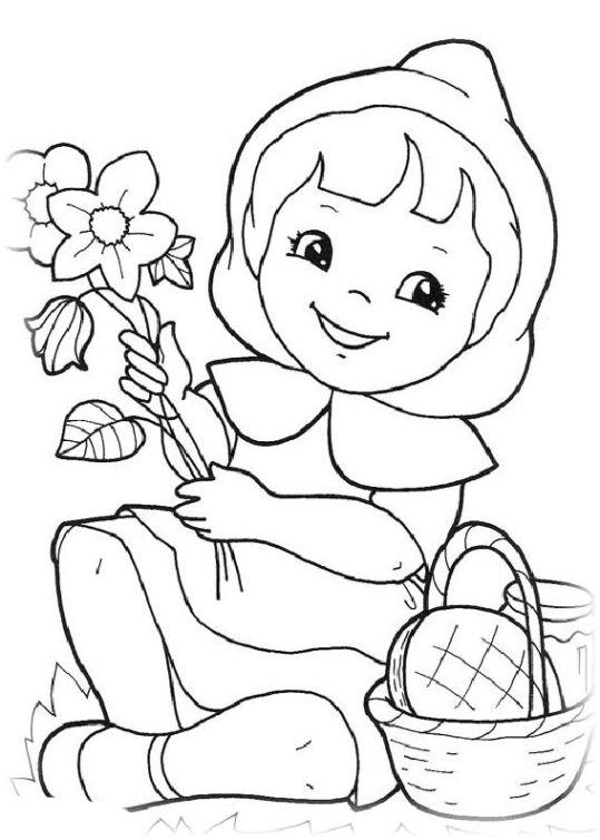 ausmalbilder für kinder rotkappchen 4