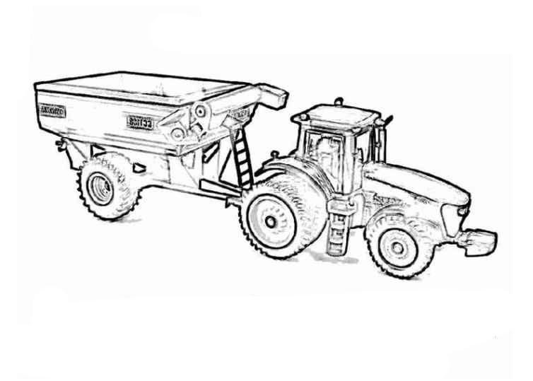 ausmalbild traktor mit anhänger  ausmalbilder