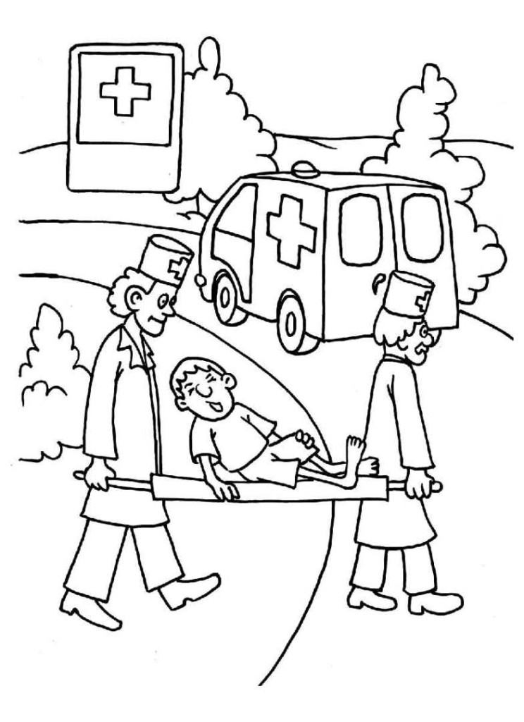 Ausmalbilder F 252 R Kinder Arzt 15