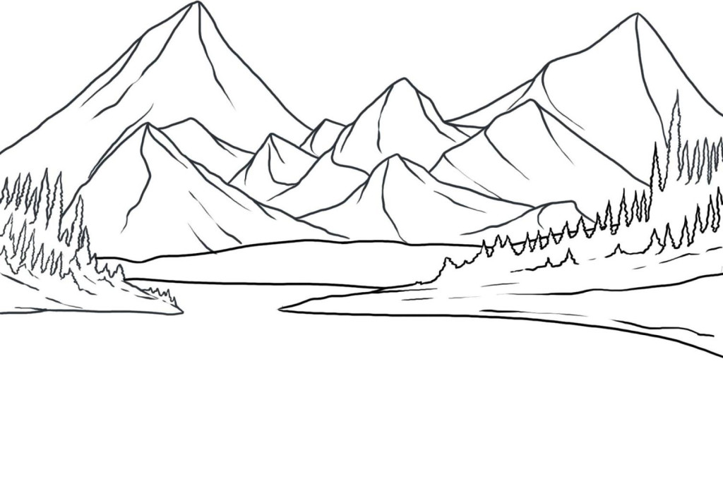 Ausmalbilder für Kinder Berg Gebirge 13