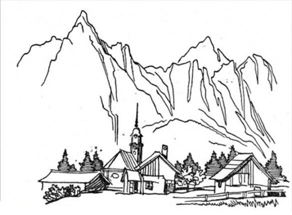 Ausmalbilder für Kinder Berg Gebirge 2