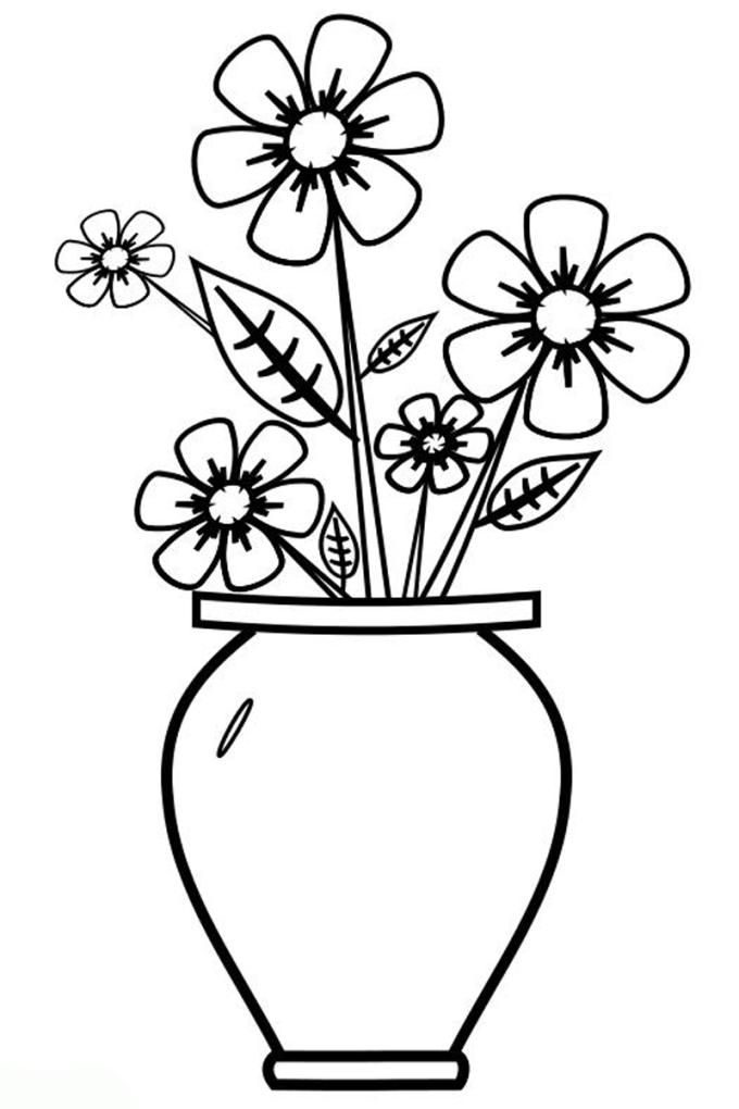 ausmalbilder für kinder vase mit blumen 2