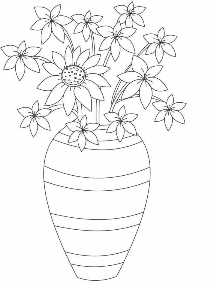 Ausmalbilder F 252 R Kinder Vase Mit Blumen 6 Simple Flower Pot Draw Color It