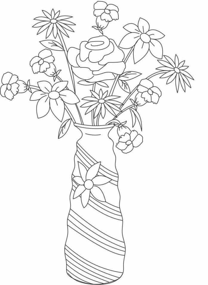 ausmalbilder für kinder vase mit blumen 7